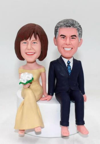 Personalized wedding cake topper bobbleheadsSitting