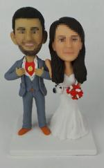 Custom superman groom wedding cake toppers