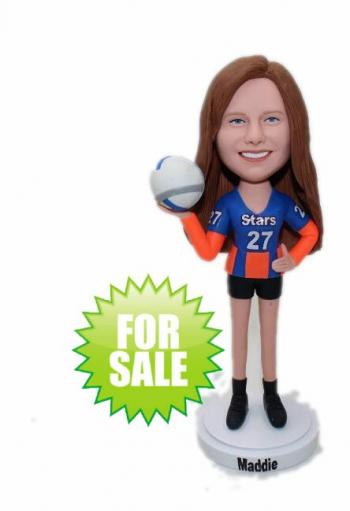 Custom bobblehead playing volleyball