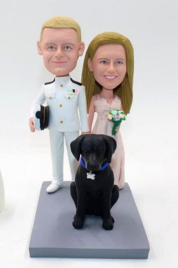 Personalized custom bobbleheads- Military wedding cake topper