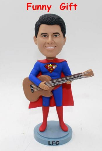 Superman playing the guitar- Custom bobblehead