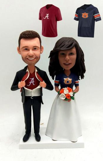 Wedding bobble head couple with sports jersey