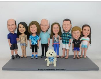 Custom bobbleheads for family- 3-9 different persons