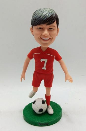 Custom bobblehead- Playing soccer ball