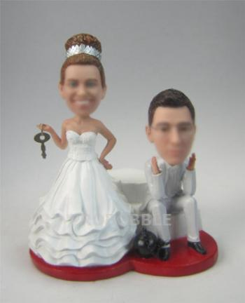 Lock and key wedding bobbleheads cake toppers