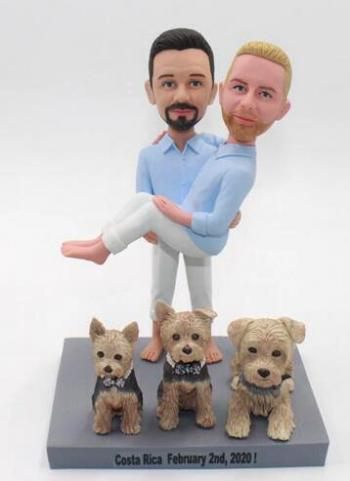 Same sex gay wedding bobbleheads cake toppers
