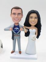 Personalized Custom wedding cake topper-groom superman [C3596]