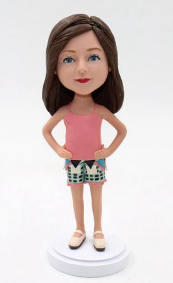 Casual girl bobblehead doll