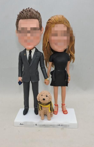 Custom wedding cake topper with dog