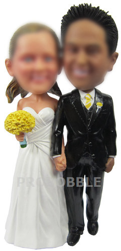 Custom cake topper wedding hands in hands