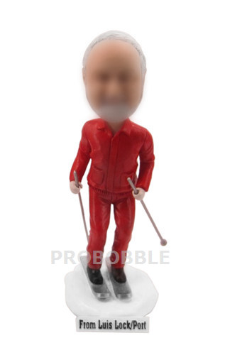 Male Skier With Custom Skis Bobbleheads