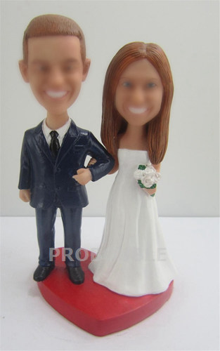 Traditional wedding cake topper bobble heads