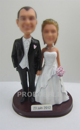 Country Wedding couple cake topper bobbleheads
