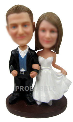 Personalized country Wedding Bobbleheads cake topper