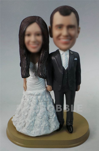 Personalized Wedding Bobbleheads cake topper