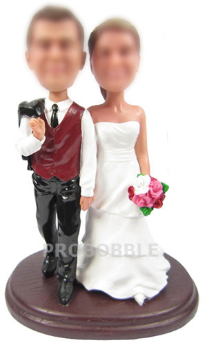 country Wedding Cake Topper Bobbleheads