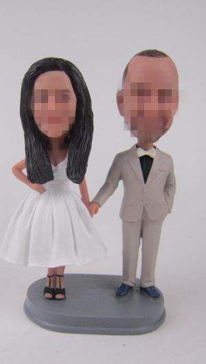 Custom wedding cake toppers hand in hand
