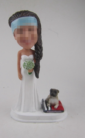 Custom bride bridesmaid bobbleheads with puppy