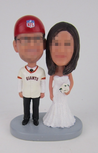 Custom wedding cake toppers giants fan groom