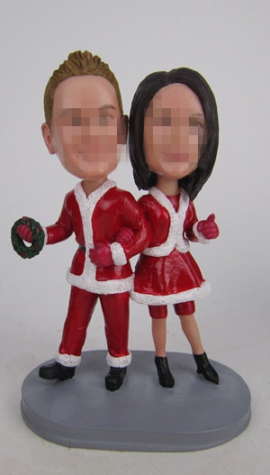 Custom wedding cake toppers in Christmas theme